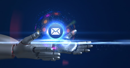 Humanoid robot arms holding 3d email symbol. Technology related 3D Render.