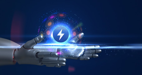 Humanoid robot arms holding 3d electric symbol. Technology related 3D Render.