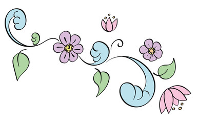 Pastel Filigree Flower Decal