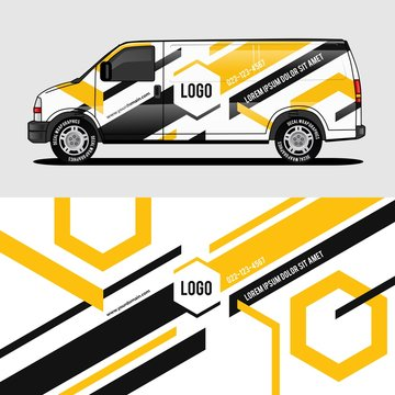 car livery yellow van wrap design wrapping sticker and decal design for corporate company branding vector