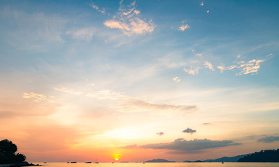 Sea with yellow and blue sky sunset background
