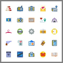 25 empty icon. Vector illustration empty set. id card and note icons for empty works