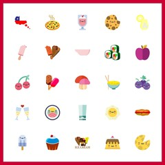25 delicious icon. Vector illustration delicious set. popsicle and hot dog icons for delicious works