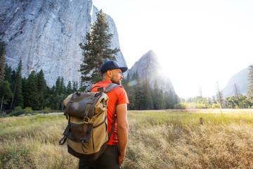 Happy hiker visit Yosemite national park in California