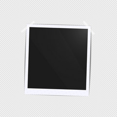 Realistic empty photo black blank frames batch mockup glued with tape. Make it with gradient mesh tool illustration. Vector template for collage to family album sticker on white borders and shadow.