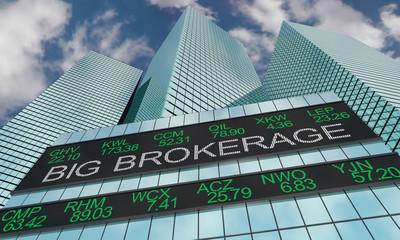 Big Brokerage Trader Financial Firm Stock Ticker Buildings 3d Illustration