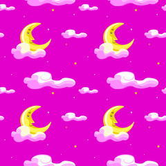 Cute moon, clouds and night sky with stars seamless pattern. Vector hand drawn illustration. Texture for printing, wrapping, wallpaper, fabric, and textile.