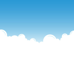 White cloud with blue sky landscape vector background