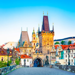 Fototapete - Charles Bridge and Lesser Tower in Prague