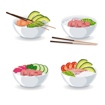 Set of illustrations with different types of Poke bowl isolated on white background