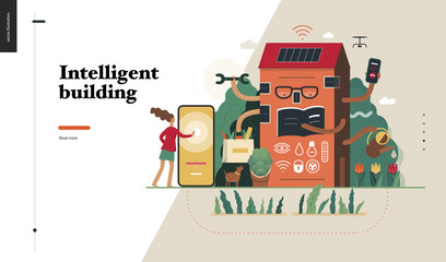 Technology 2-Intelligent building, modern flat vector concept digital illustration Smart house and management metaphor -woman and building resolving problems. Creative landing web page design template