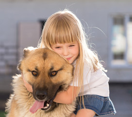 Girl, dog, embraces, home, fun, close up