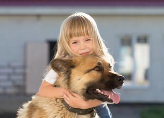Girl, dog, embraces, home, fun, close up