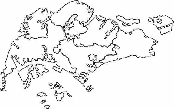 Freehand sketch of Singapore map on white background.