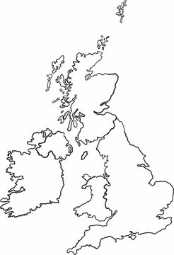 Freehand sketch of United Kingdom and Ireland map on white background.