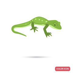 Green gecko color flat icon for web and mobile design