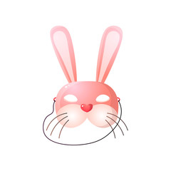 Carnival, halloween, masquerade pink hare mask isolated on white background