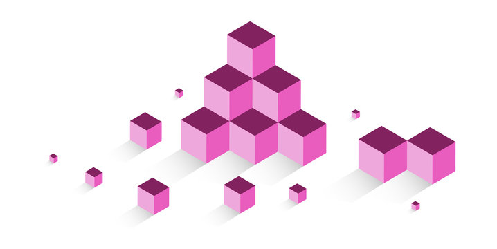 cubi, costruzioni, concetto, 3d, pixel, edilizia,