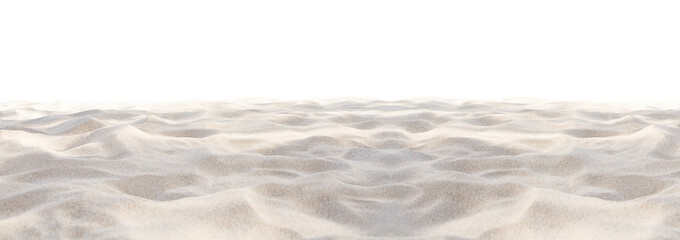 Sand beach texture isolated on white background. Mock up and copy space. Top view. Selective focus.