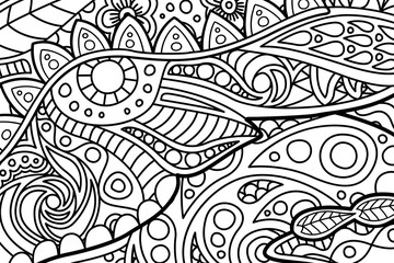 Black and white tangle pattern for coloring book