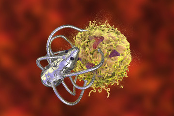 Nanobot attacking cancer cell, nanotechnology medical concept, 3D illustration. Nano sized robots developed to treat cancer