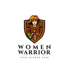 Women Knight earrior logo