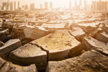 Post-apocalyptic landscape. City after the effects of global warming. Climate changes concept. Wall mural