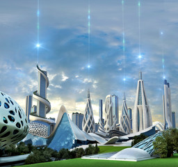 Futuristic city powered by an exotic energy source