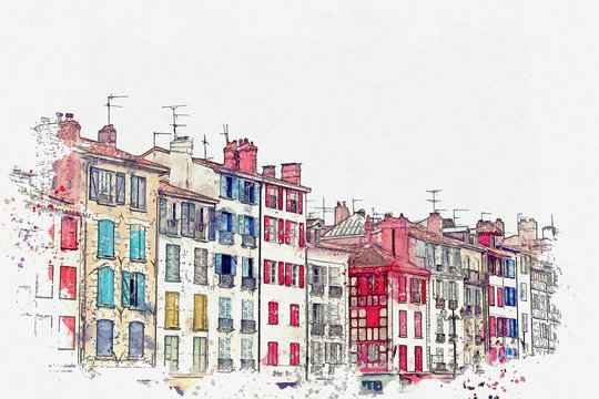 Watercolor sketch or an illustration of a beautiful view of the colorful houses in Bayonne in France. Traditional European architecture