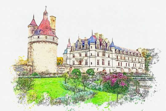 Watercolor sketch or illustration of a beautiful view of the ancient castle of Chenonceau in France