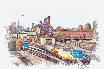 Watercolor sketch or illustration of a beautiful view of the urban architecture or train station with trains in Chicago in the USA