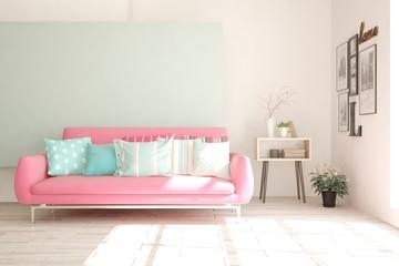 White stylish minimalist room with colorful sofa. Scandinavian interior design. 3D illustration