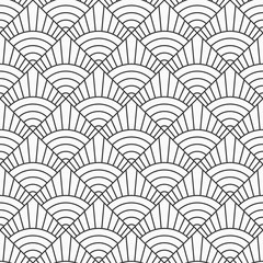 Abstract seamless pattern. Repeating geometric tiles from striped elements. Vector monochrome background.