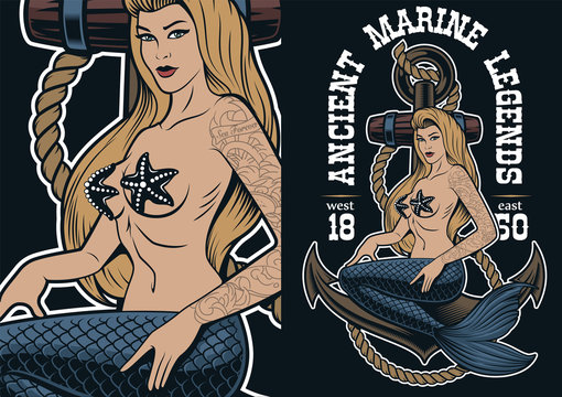Colorful illustration of mermaid at the anchor in tattoo style.