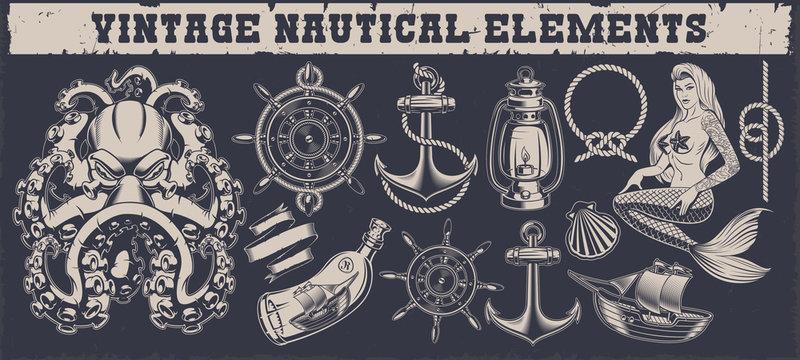 Set of a vintage nautical elements