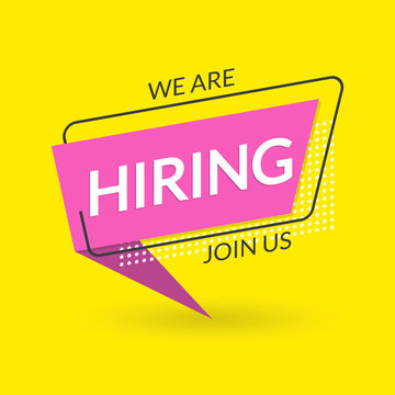 We are Hiring banner. Join us. Hire for the Job concept. Vacancy design poster. Vector illustration.