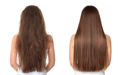 Spoed Fotobehang Kapsalon Woman before and after hair treatment on white background