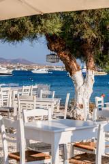 Greek taverna near the sea at Antiparos island, Greece
