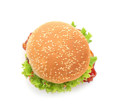 Tasty burger on white background, top view