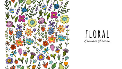 Floral vertical seamless pattern for your design