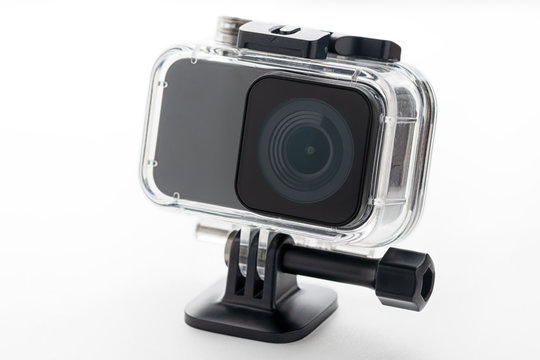 Action camera isolated on a white background. Camera for footage 4k movies, sports and domestic life. for design and decoration
