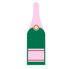 champagne bottle flat simple illustration
