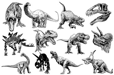 Graphical set of dinosaurs isolated on white background,vector illustration,tattoo
