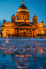 Saint Isaac's Cathedral in St. Petersburg city in the dusk