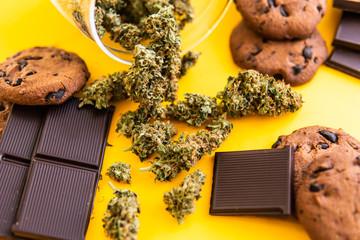 Treatment of medical marijuana for use in food, yellow background. Cannabis CBD herb Chocolate and Cookies. Cookies and Chocolate with weed and buds of marijuana on the table.
