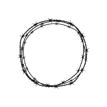 Barbed wire circle. Vector illustration. Isolated.
