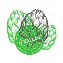 Three artichokes. Hand drawn vector food illustration. Engraved style vegetables. Retro botanical picture.