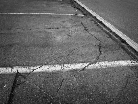 Parking lots pavement in black and white