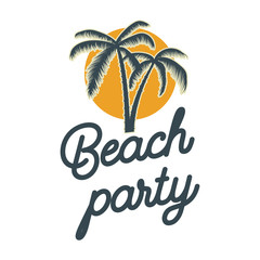 Beach party. emblem with palms. Design element for logo, label, sign, poster, t shirt.
