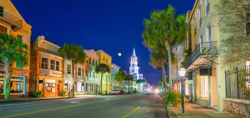 Fototapeta premium Broad Street Panorama w Charleston, Karolina Południowa, USA